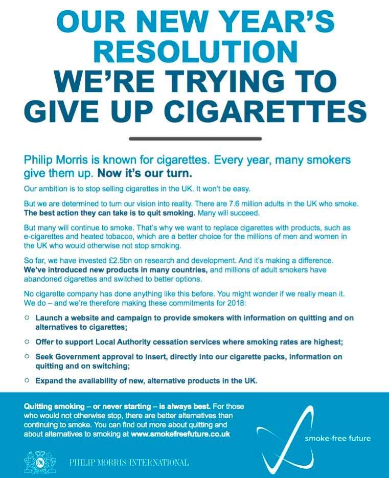 the philip morris anti smoking campaign essay Big tobacco's anti-smoking ads begin after decade of delay cigarette taxes and anti-smoking campaigns by both nonprofit groups owner of philip morris.